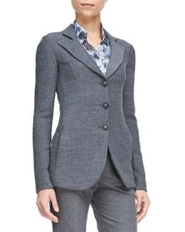 Melange Three-Button Jacket