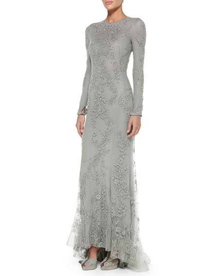 ebda2cfac89 Ralph Lauren Collection Long-Sleeve Beaded Evening Gown