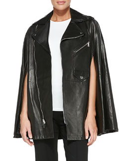 Ralph Lauren Black Label Dean Leather Moto Cape