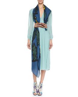 Burberry Prorsum Floral Cashmere Scarf, Pewter Blue