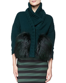 Burberry London Wool-Cashmere Chunky Fur-Front Jacket
