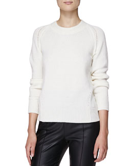 Burberry London Cashmere Crewneck Sweater, Natural White