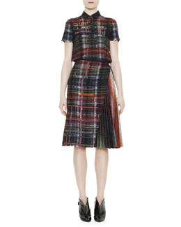 Marco de Vincenzo Short-Sleeve Metallic Flannel Dress, Blue/Multi