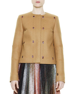 Marco de Vincenzo Perforated Metallic-Peekaboo Coat, Camel