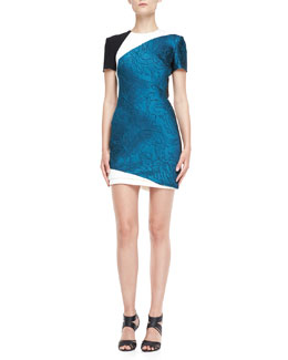 J. Mendel Short-Sleeve Silk Crepe Combo Dress, Empress Green