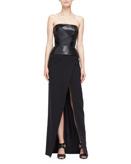 J. Mendel Gown with Strapless Leather Bodice