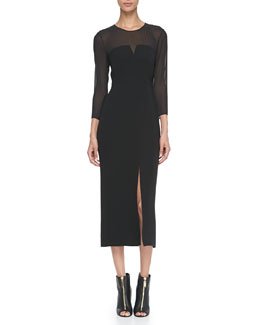 Burberry London Long-Sleeve Sheer-Top Midi Dress, Black