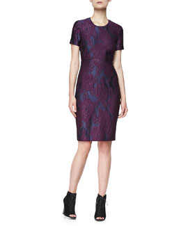 Burberry London Short-Sleeve Lace-Embroidered Dress