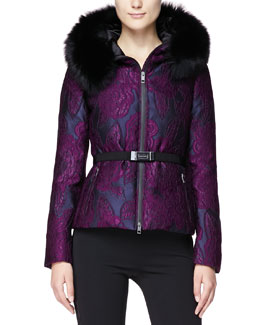 Burberry London Intarsia Jacquard Puffer Coat with Fur Hood