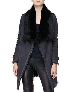 Burberry London Long Coat with Shearling Lining, Charcoal