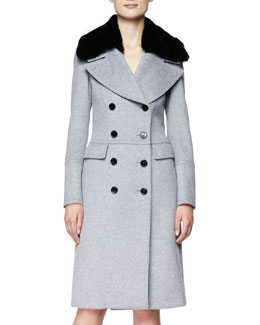 Burberry London Long Double-Breasted Military Coat with Fur Collar