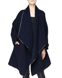 Burberry London Cashmere Leather-Trim Wrap Coat