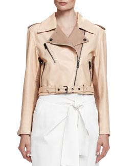 Laced-Back Napa Leather Jacket