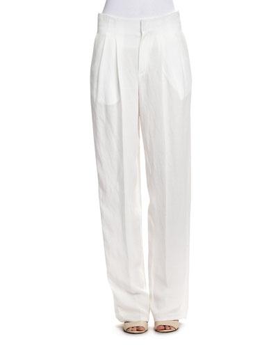Rustic Linen-Blend Straight-Leg Pants