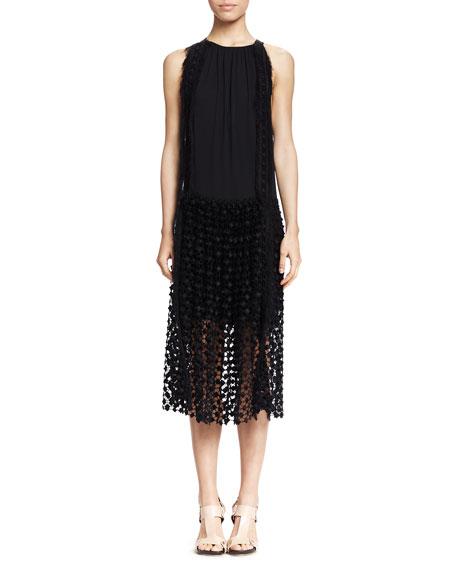 Sleeveless Lace-Bottom Combo Dress