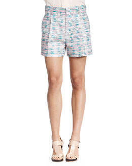 Pleated Fluorescent Tweed Shorts
