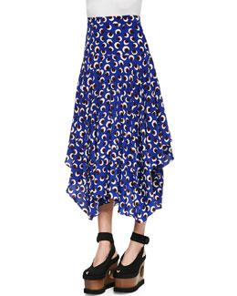 Blossom-Print Long Handkerchief Skirt, Ultramarine