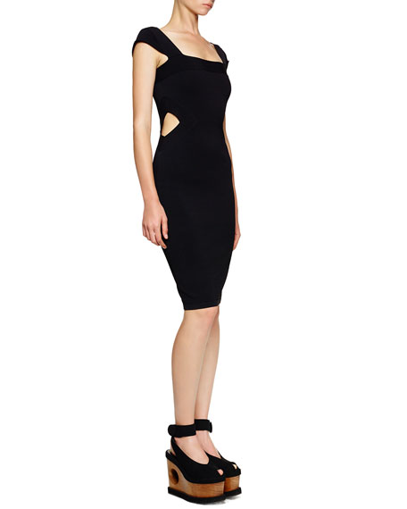 Side Cutout Cap-Sleeve Sheath Dress, Black
