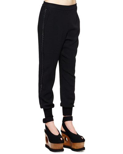 Ric Rac Tux-Stripe Trousers, Black