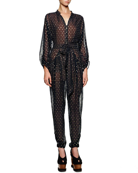 Gold Dotted Tie-Front Tapered Jumpsuit, Midnight