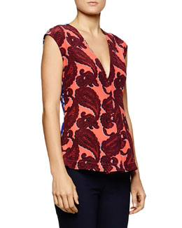 Paisley-Print V-Neck Silk Top