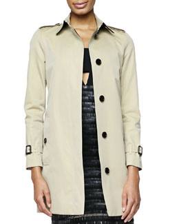 Burberry London Straight Single-Breast Trench Coat, Honey