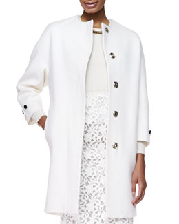 Cashmere Golden-Button Oversize-Coat