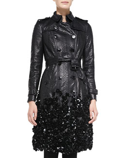 Burberry London Embellished Python Trench Coat, Black