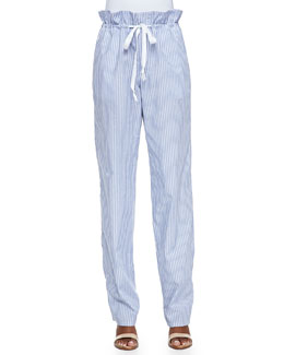 Striped Paperbag-Waist Pants, Blue/White