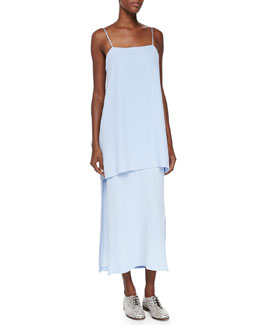 Midi Double-Layer Cami Dress, Blue Quartz
