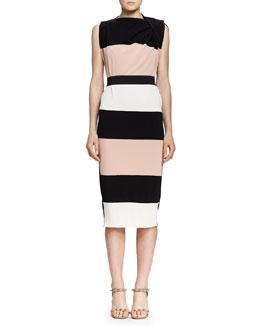 Wide-Striped Draped-Shoulder Dress, Black/Nude