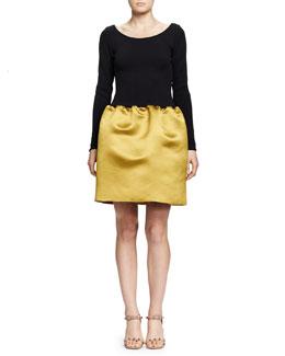 Ballet Dress with Satin Pouf Skirt, Anise/Black