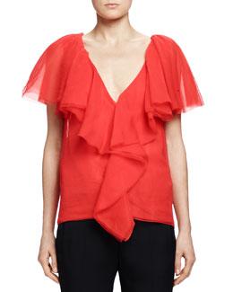 Cascade-Ruffle Top, Poppy Red