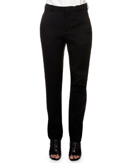 Flat Front Trousers, Black