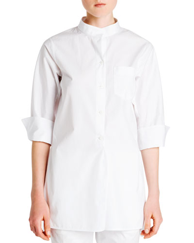 One-Pocket Poplin Blouse
