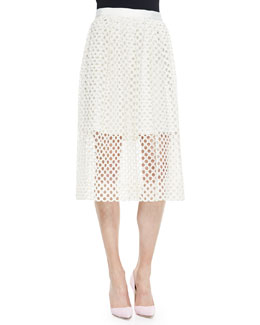 Net Lace Midi Skirt
