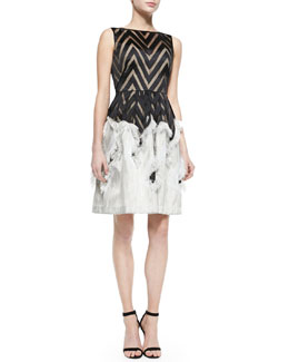 Sleeveless Dress with Fringed Skirt