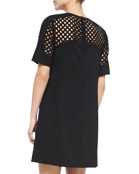 Net-Top Shift Dress, Black