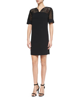 Net-Top Shift Dress, Black