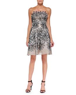 Strapless Floral Appliqué Dress