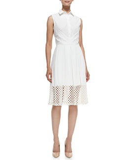 Lace-Hem Stretch-Cotton Shirtdress