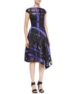 Ribbon-Plaid Draped Dress