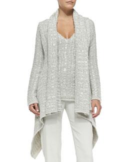Cashmere Draped Chunky-Knit Cardigan