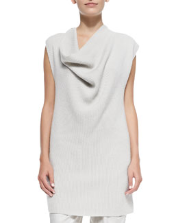 Ribbed Cashmere Draped-Neck Tunic Sweater
