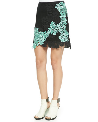 Contrast-Lace Satin Organza Skirt