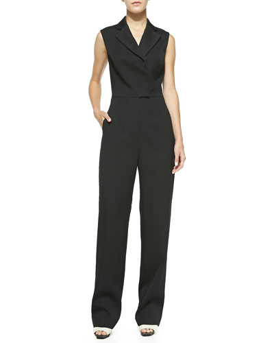 Sleeveless Collared Jumpsuit, Black