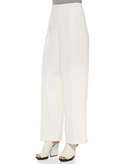 Wide-Leg Trousers, Ivory