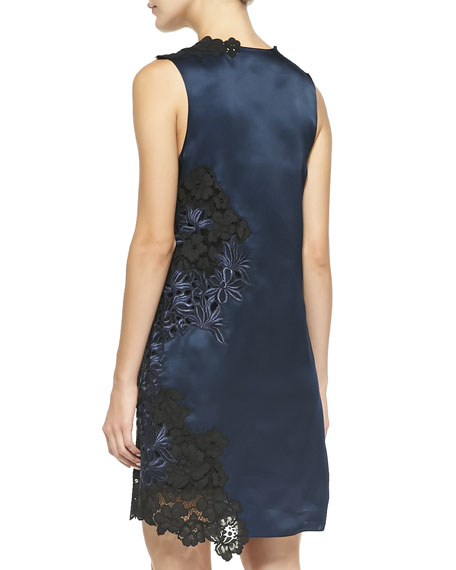 Sleeveless Satin & Lace Dress, Navy