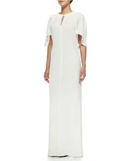 Draped Keyhole Gown with Tie Back, Ivory