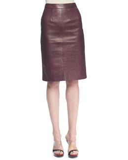 Plonge Leather Slim Skirt